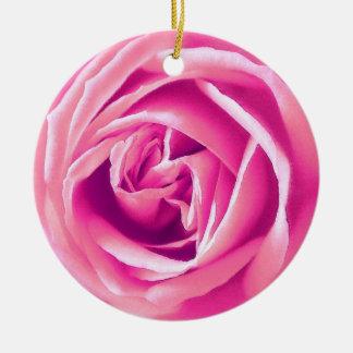 Pink rose print christmas ornament