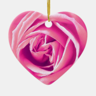 Pink rose print christmas ornaments