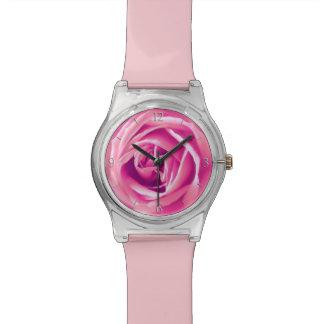 Pink rose print wristwatch
