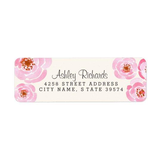 Pink Rose Print Return Address Labels