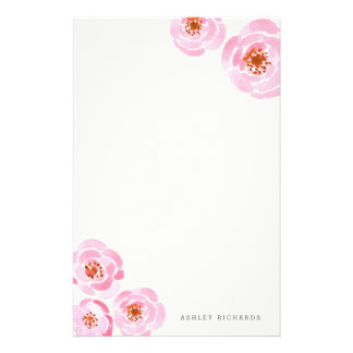 Pink Rose Print Stationery