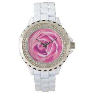 Pink rose print wristwatches