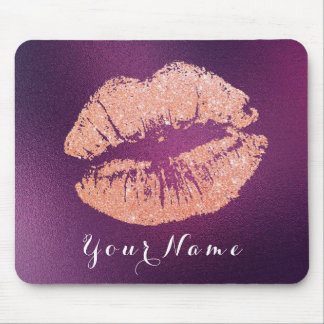 Pink Rose Purple Amethyst Name Makeup Lips Kiss Mouse Pad