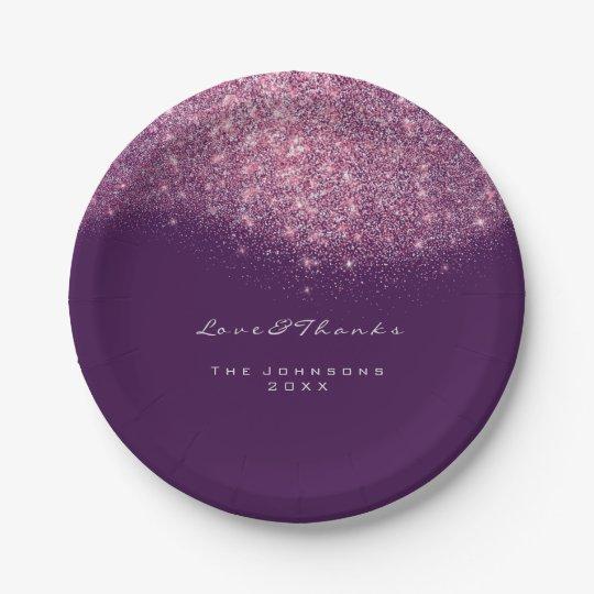 Pink Rose Purple Glitter Birthday 16th Wedding Paper Plate
