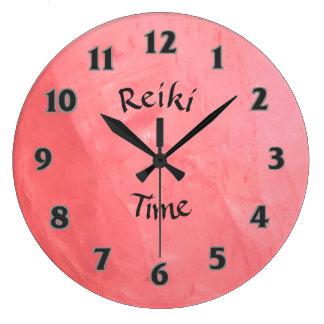 Pink Rose Quartz Reiki Time Large Clock