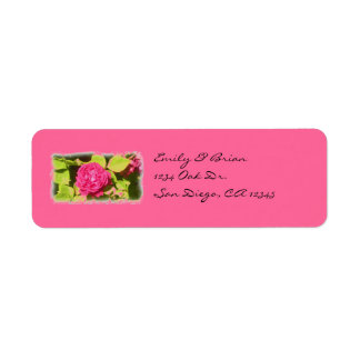 Pink rose return address labels