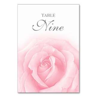 Pink Rose Romance Wedding Table Number 9