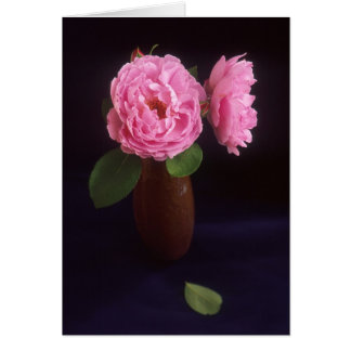 Pink Rose Roses Flower Brown Vase Greeting Card