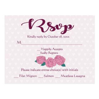 Pink Rose RSVP Purple & Lavender Hearts Wedding Postcard