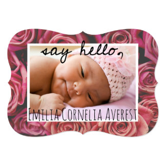 Pink Rose Say Hello Baby Girl Arrival Card