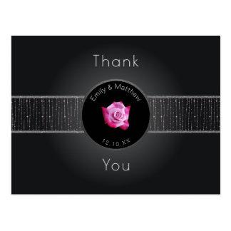 Pink Rose Silver Glow Ribbon Thank You Postcard