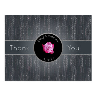 Pink Rose Silver Gray Back-lit Thank You Postcard