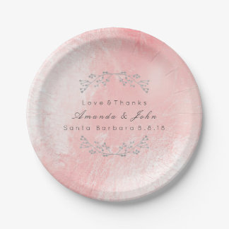 Pink Rose Silver Metallic Floral Wedding Glass 7 Inch Paper Plate