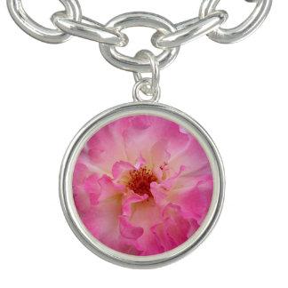 Pink Rose Silver Plated Charm Bracelet