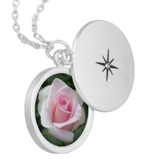 Pink Rose, Small Sterling Silver Round Necklace