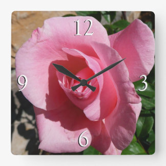 Pink Rose Square Wall Clock