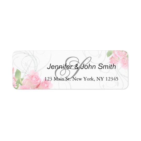 Pink rose swirls wedding | bridal shower invites return address label