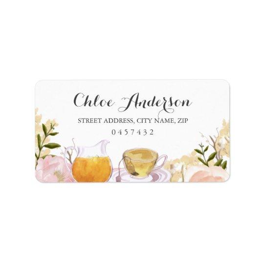 Pink Rose Teacup Bridal Shower Address Labels