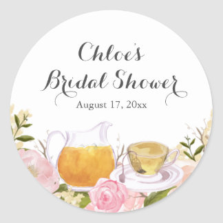 Pink Rose Teacup Bridal Shower Stickers