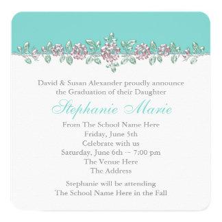 Pink Rose Teal Blue Graduation Announcements