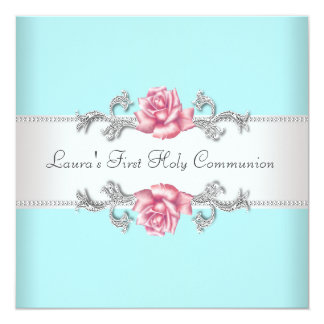 Pink Rose Teal Girls Teal First Communion 13 Cm X 13 Cm Square Invitation Card