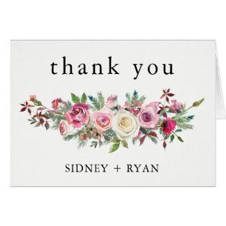 PINK ROSE Thank You Cards Wedding Blush Bouquet