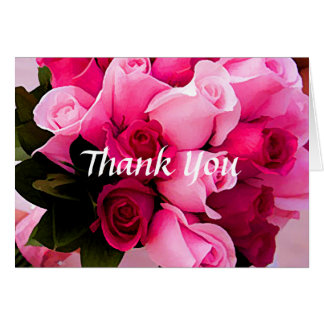 Pink Rose Thank You Notes Greeting Card