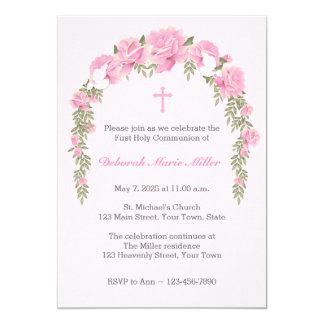 Pink Rose Trellis Religious Invitation