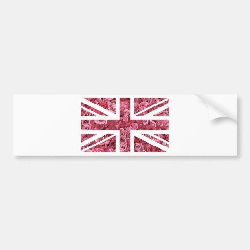 Pink Rose Union Jack British(UK) Flag Bumper Sticker