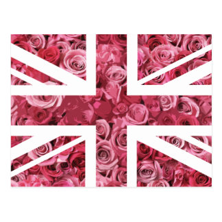 Pink Rose Union Jack British(UK) Flag Postcard
