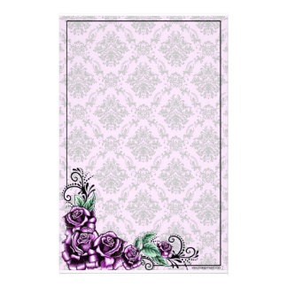 Pink Rose Valentine Baroque Pattern Stationery