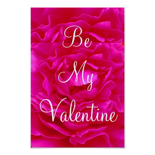 Pink Rose Valentine Poster - Customizable Print