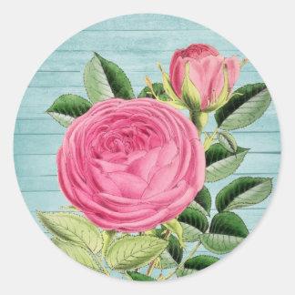 Pink rose vintage floral sticker