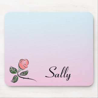 Pink Rose w/Pink and Blue Gradient Colours Mouse Pad