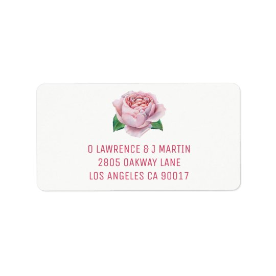 Pink Rose Watercolor Address Label
