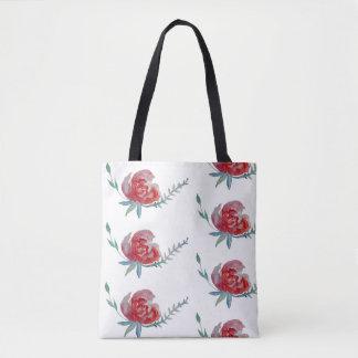 Pink Rose Watercolor All-Over-Print Tote Bag