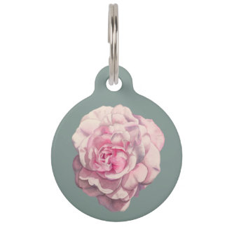 Pink Rose Watercolor Illustration Customizable Pet Name Tag