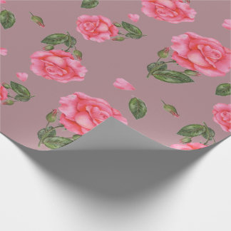 Pink Rose Watercolor Illustration Floral Art Wrapping Paper