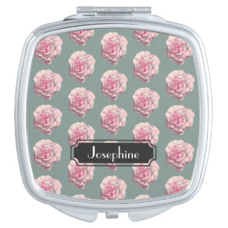 Pink Rose Watercolor Illustration with Name Mirror For Makeup