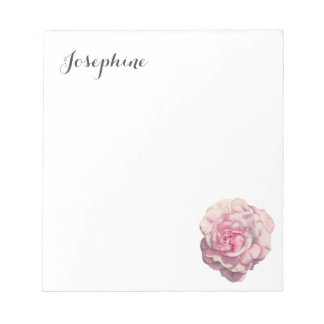 Pink Rose Watercolor Illustration with Name Notepad
