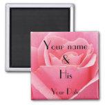 Pink Rose Wedding Magnet
