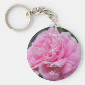 Pink Rose Wedding Remembrance Keychain