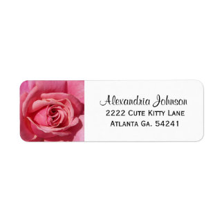 Pink Rose: White Avery Return Address Labels