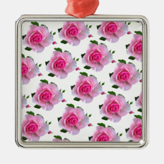 Pink Rose White Metal Ornament