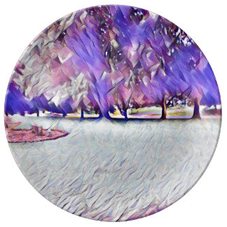 Pink Rose White Painted Landscape Plate