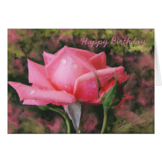 Pink Rose with Water Drops Birthday Greeting Card