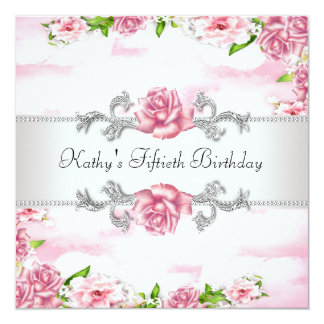 Pink Rose Womans 50th Birthday Party 13 Cm X 13 Cm Square Invitation Card