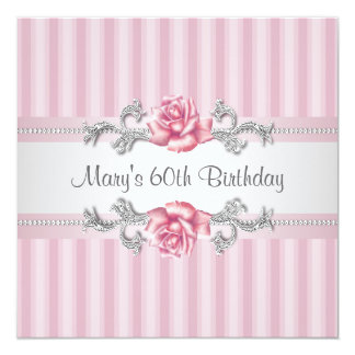 Pink Rose Womans 60th Birthday Party 13 Cm X 13 Cm Square Invitation Card