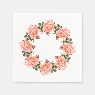 Pink Rose Wreath Cocktail Paper Napkins