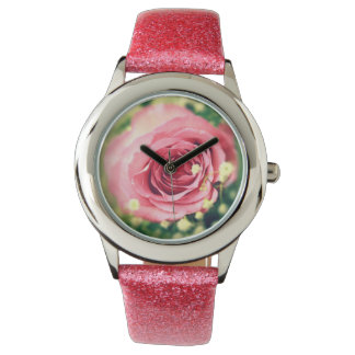 Pink rose wrist watches